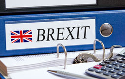 Brexit binder in the Office. The United Kingdom withdrawal from the European Union Royalty Free Stock Photography