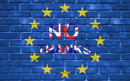 Brexit blue european union EU flag on brick wall and word no thanks with great britain flag Stock Photo