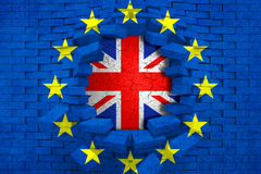 Brexit blue european union EU flag on broken brick wall with hole and great britain flag inside Royalty Free Stock Photo