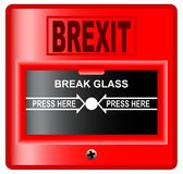 Brexit Break Glass Alarm. A `break glass` brexit  fire alarm style  over a white background Royalty Free Stock Images