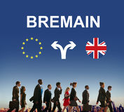Brexit Bremain UK EU Referendum Concept. People Going Brexit Bremain UK EU Referendum royalty free stock photo