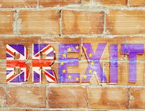 Brexit bricks wall  message great britain flag. Text background royalty free stock image