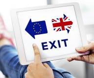 Brexit Britain Leave European Union Quit Referendum Concept. Human Hands Holding Digital Device Screen Display Brexit Britain Leave European Union Quit Stock Photo