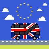 Brexit BRITANNIQUE de drapeau peint par autobus à impériale Images libres de droits