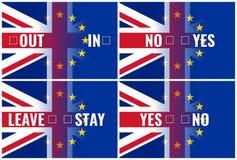 Brexit - britische Flaggen des Eus mit Text Stockfotos