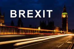 Brexit or british exit with Light trail in the night at Big Ben Royalty Free Stock Images
