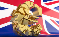 BREXIT - broken euro sign - 3D rendering Stock Images