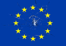 Brexit, broken glass effect on european flag, schengen eurozone crisis Royalty Free Stock Images