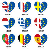 Brexit broken heart, what next?. Britain leaving the EU concept showing a broken heart with the British and Euro flag. Who will leave next? Frexit, Swexit, Nexit Royalty Free Stock Image