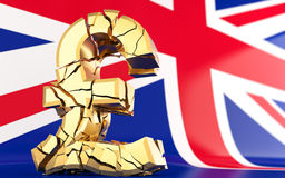BREXIT - broken pound sign - 3D rendering Stock Photography