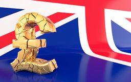 BREXIT - broken pound sign Royalty Free Stock Photo