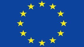 Brexit, carta sgualcita di rotolamento con la bandiera europea, crisi di zona euro di Schengen, schermo verde chiave di intensità illustrazione di stock