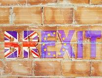 Brexit cegieł ściany wiadomości Britain wielka flaga fotografia stock