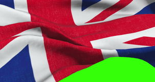 Brexit, closeup of waving flag of union jack, uk great britain england symbol, named united kingdom flag on chroma key. Green screen stock video footage