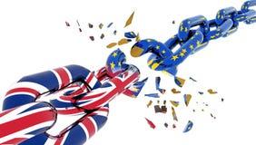 Brexit con le imposte rotto della catena dell'Unione Europea - rappresentazione 3d fotografia stock libera da diritti