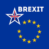 Brexit concept banner. British exit. England intends to withdraw from the European Union. Blue background with european golden stars and one big british star Stock Photography