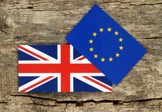 Brexit concept, blue european union EU and Great Britain flags Stock Photo