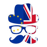 Brexit concept. British invisible man with two flags - EU and UK Royalty Free Stock Images