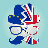 Brexit concept. British invisible man with two torn flags - EU a Royalty Free Stock Image