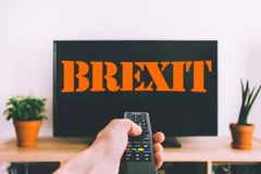 BREXIT. Concept with display and orange letter stock image