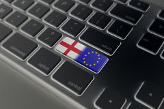 Brexit concept with england and EU flag on a computer keyboard Stock Photography