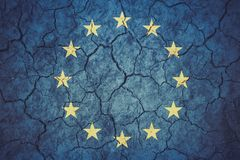 Brexit concept - EU flag on grunge background. Brexit concept EU flag on grunge background stock images