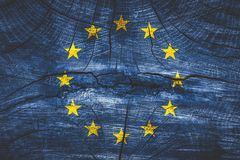 Brexit concept - EU flag on grunge background. Brexit concept -EU flag on grunge background stock photography