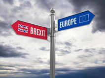 Brexit concept - Euro and Brexit road signs with flags Royalty Free Stock Images