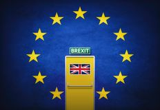Brexit Concept with Flag and Door Stock Photo