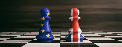 Brexit concept.United Kingdom and European Union flags on chess pawns on a chessboard. 3d illustration. Brexit concept. Great Britain and European Union flags on Stock Image