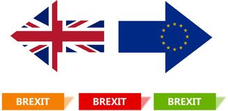Brexit Concept Illustration. Two arrows in opposite directions and square, template. royalty free stock photo