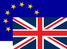 Brexit concept illustration - UK economy after Brexit deal symbolized with EU flag and England flag. Stock illustration stock illustration