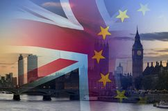 BREXIT conceptual image of London image and UK and EU flags overlaid symbolising agreement and deal being processed. BREXIT concept image of London image and UK royalty free stock photos