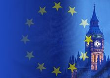 BREXIT conceptual image of London image and UK and EU flags overlaid symbolising agreement and deal being processed. BREXIT concept image of London image and UK royalty free stock images