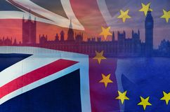 BREXIT conceptual image of London image and UK and EU flags overlaid symbolising agreement and deal being processed. BREXIT concept image of London image and UK stock photography
