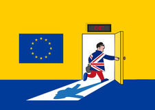 Brexit Concept. Man in British Suit goes out from a European Union Room. Editable Clip art. Stock Photos