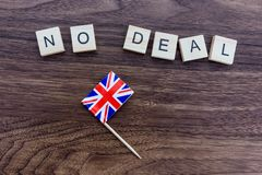 Brexit Concept - No Deal with Union Jack Flag. On a dark background stock image