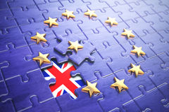 Brexit concept. Puzzle with EU European Union flag  without Grea Stock Photography