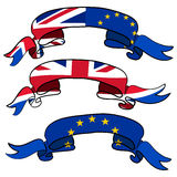 Brexit concept. Set of ribbons of  England flag and European fla Royalty Free Stock Images