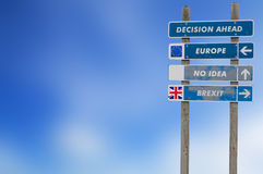 Brexit concept with signpost for decision Royalty Free Stock Photography