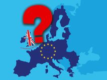 Brexit concept - UK economy after Brexit with a big red question mark - UK as a flag and EU stars on map of europe with big qustio. N mark over England - stock stock illustration
