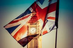 Brexit concept - Union Jack flag and iconic Big Ben in the backg Stock Image