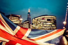 Brexit concept - Union Jack flag and iconic Big Ben in the backg Royalty Free Stock Photography