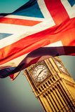 Brexit concept - Union Jack flag and iconic Big Ben in the backg Stock Photos