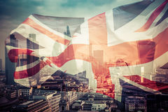 Brexit concept - Union Jack flag and iconic Big Ben in the backg Stock Photo