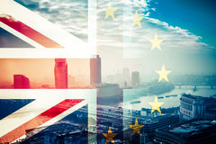 Brexit concept - Union Jack flag and iconic Big Ben in the backg Royalty Free Stock Photos