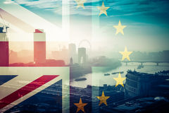 Brexit concept - Union Jack flag and iconic Big Ben in the backg Stock Photography