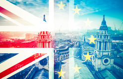 Brexit concept - Union Jack flag and iconic Big Ben in the backg Royalty Free Stock Image