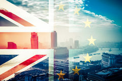 Brexit concept - Union Jack flag and iconic Big Ben in the backg Royalty Free Stock Images