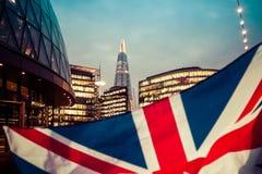 Brexit concept - Union Jack flag and iconic UK landmarks Stock Photo